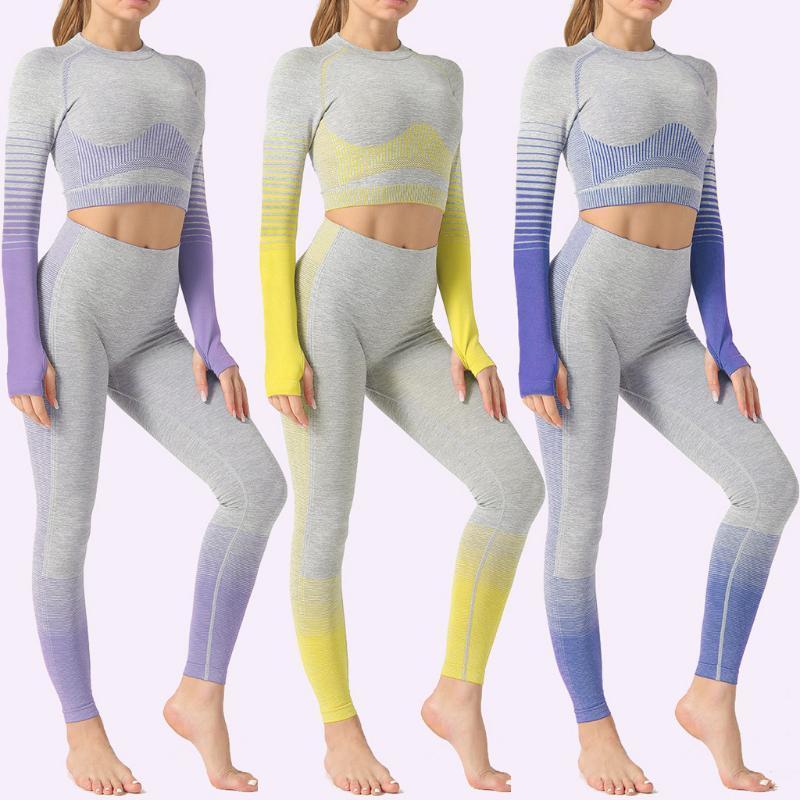 Femmes sans soudure Yoga Ensemble Fashion Ladie Changement progressif de la hanche serrée HIP à manches longues haute taille Yoga costume gym vêtements de sport sans soudure costume sport
