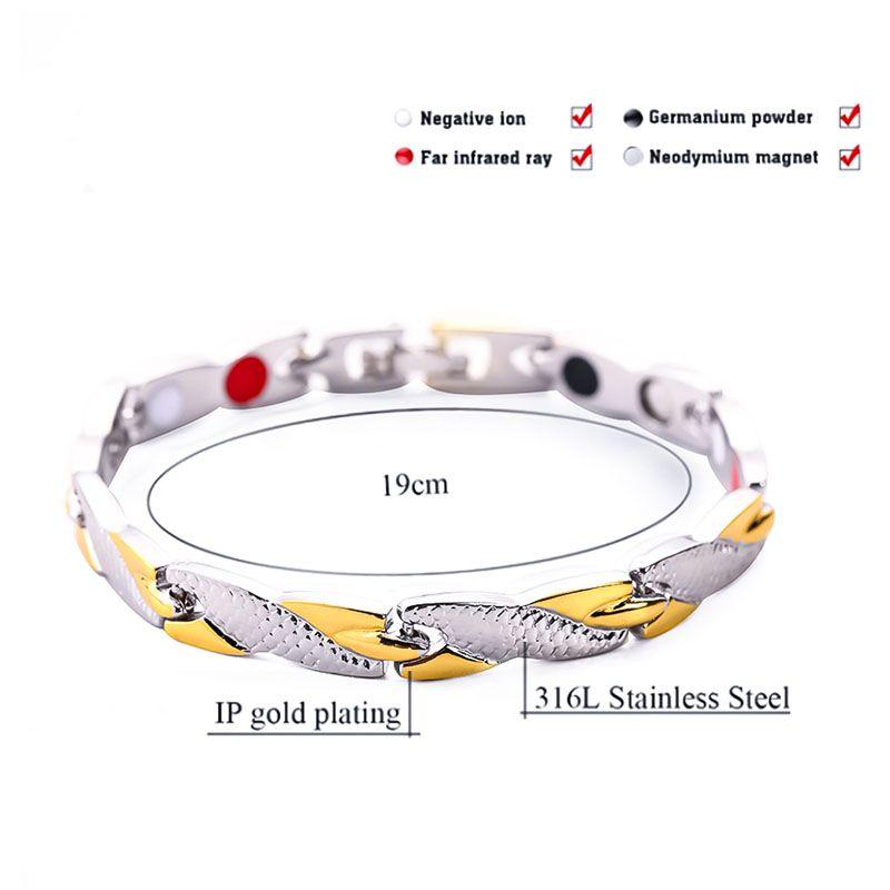 Fashion Trend Aimant pour homme et bracelets d'aimant pour femmes Gold Dragon Grain Graphique Magnétique Soins de santé Bracelet 4 couleurs