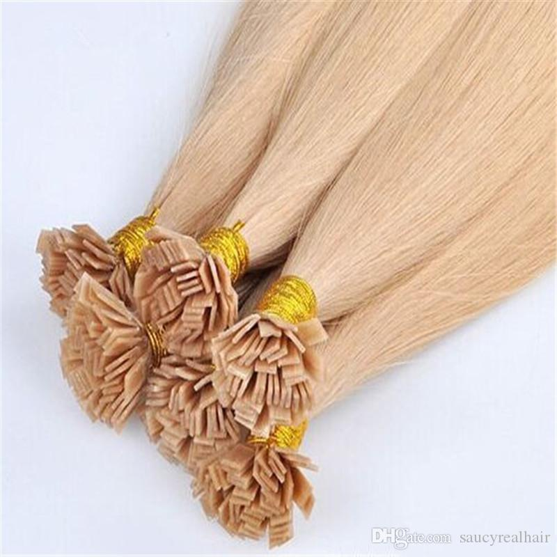 Blonde Keratin Fusion Flach Spitze-Haar-Verlängerungen Menschen 1 Satz 100strands 100g Pre gebunden Flach Spitze-Haar-Verlängerungen Rohboden Glattes Haar