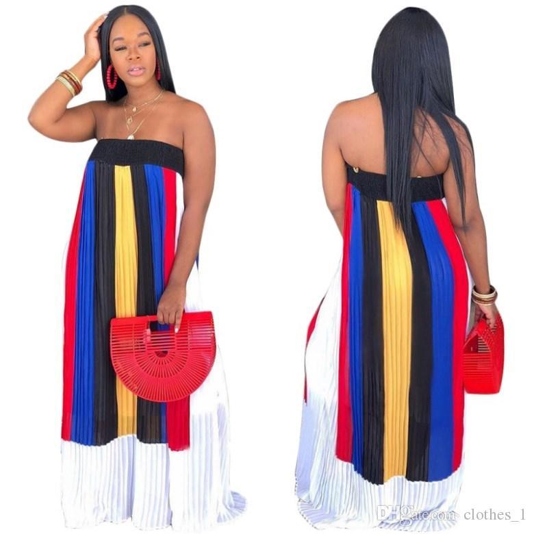 gonna a terra senza maniche del progettista delle donne vestito di un pezzo di alta qualità del vestito allentato di alta qualità sexy elegante di lusso fuori dalla gonna di spalla klw1204
