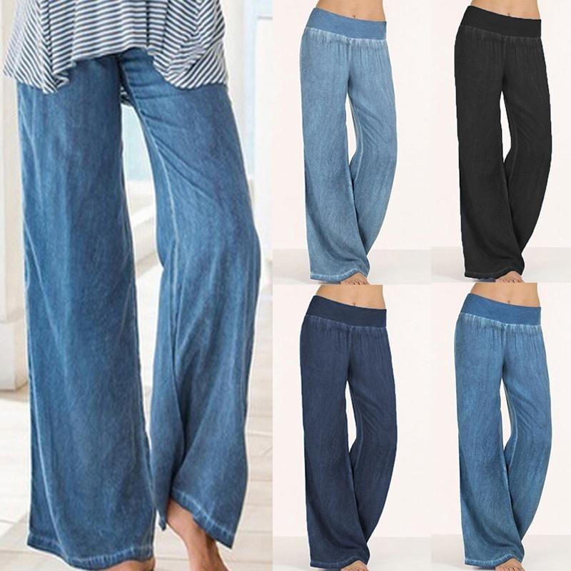 Compre Mujeres Denim Pantalones Anchos Jeans Pantalones Elasticos De Cintura Alta Ropa Para Mujer Pantalones Casuales Pantalon Plus Size A 16 46 Del Mrstang Dhgate Com