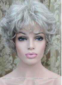 PELUCA liberan el envío caliente a prueba de calor del partido hairGrayish blancas mujeres de mediana edad ancianos señoras diario Fluffy peluca