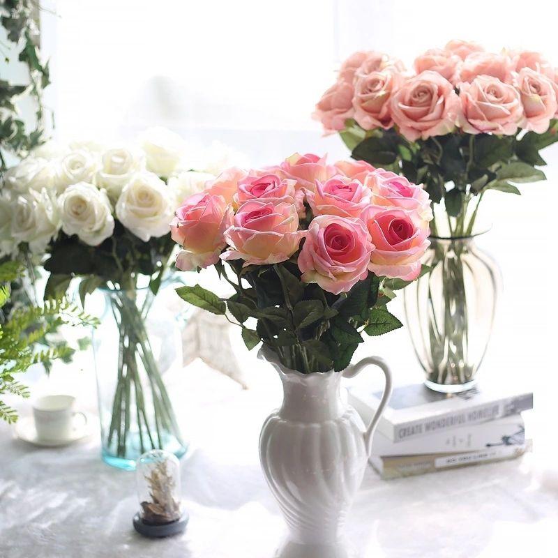 결혼식 중앙 장식품 홈 파티 축제 장식 꽃에 대한 51cm 인공 장미 꽃 가짜 실크 싱글 리얼 터치 수국은 13 색