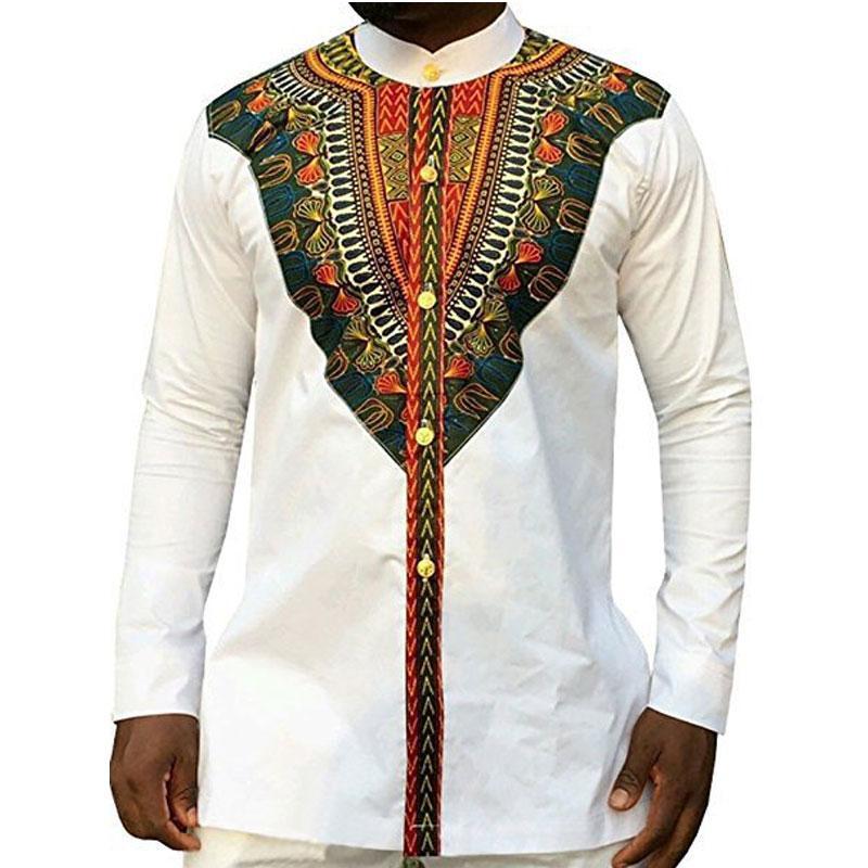 Camisas de vestir africanas con estampado étnico tribal Camisas de vestir de estilo africano Diseño de manga larga para hombres