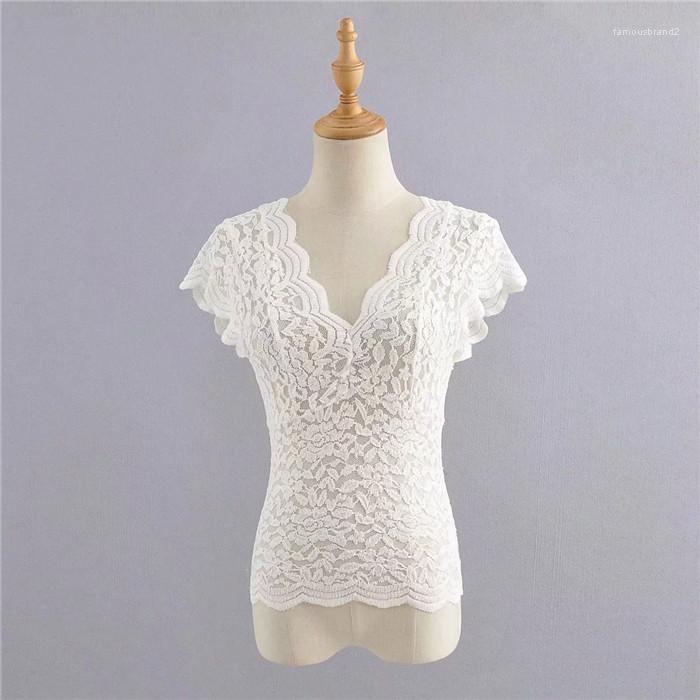 Designer camisetas gola manga curta oco cor sólida Femal Roupa Verão Casual Vestuário Womens Sexy Lace