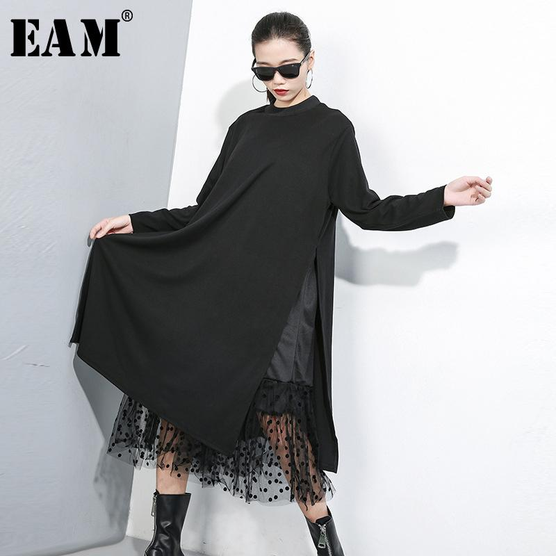 [EAM] Frauen Black Mesh-Punkt Split Joint-Kleid Neuer Standplatz-Kragen Langarm Loose Fit Fashion Tide Frühling Herbst 2019 1B593