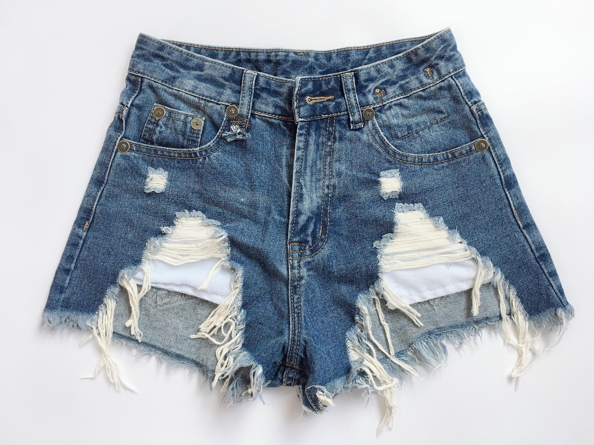 Verano Las mujeres de la borla de los pantalones vaqueros cortos rI3 mujeres de la moda estilo fresco agujero agujeros lavada desgastada pantalones cortos de mezclilla rebabas chica asiática tamaño 25-30 # zsxx749567