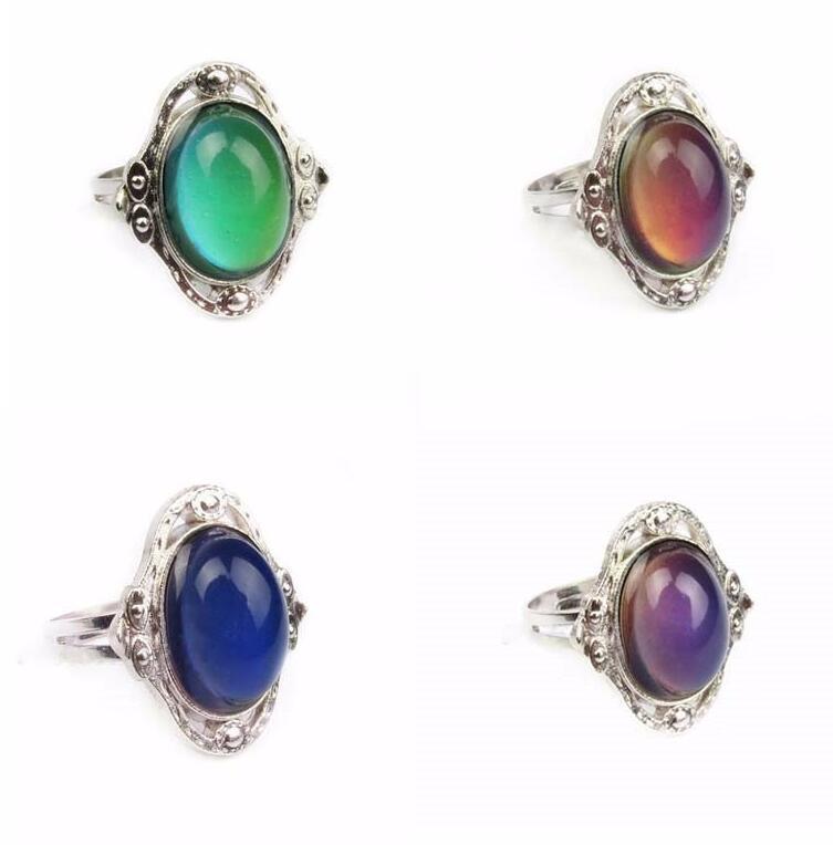 Vintage Retro Color Change Mood Ring Ovale Emotion Feeling Variabile Anello di controllo della temperatura Anelli di colore per le donne K3555