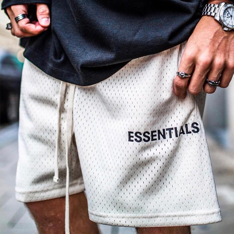 Erkek Yaz Mesh Tişörtler Şort Essentials Kısa Pantolon Spor Nefes Erkek Gevşek Moda Kalça Casual Streetwear Shorts Hop
