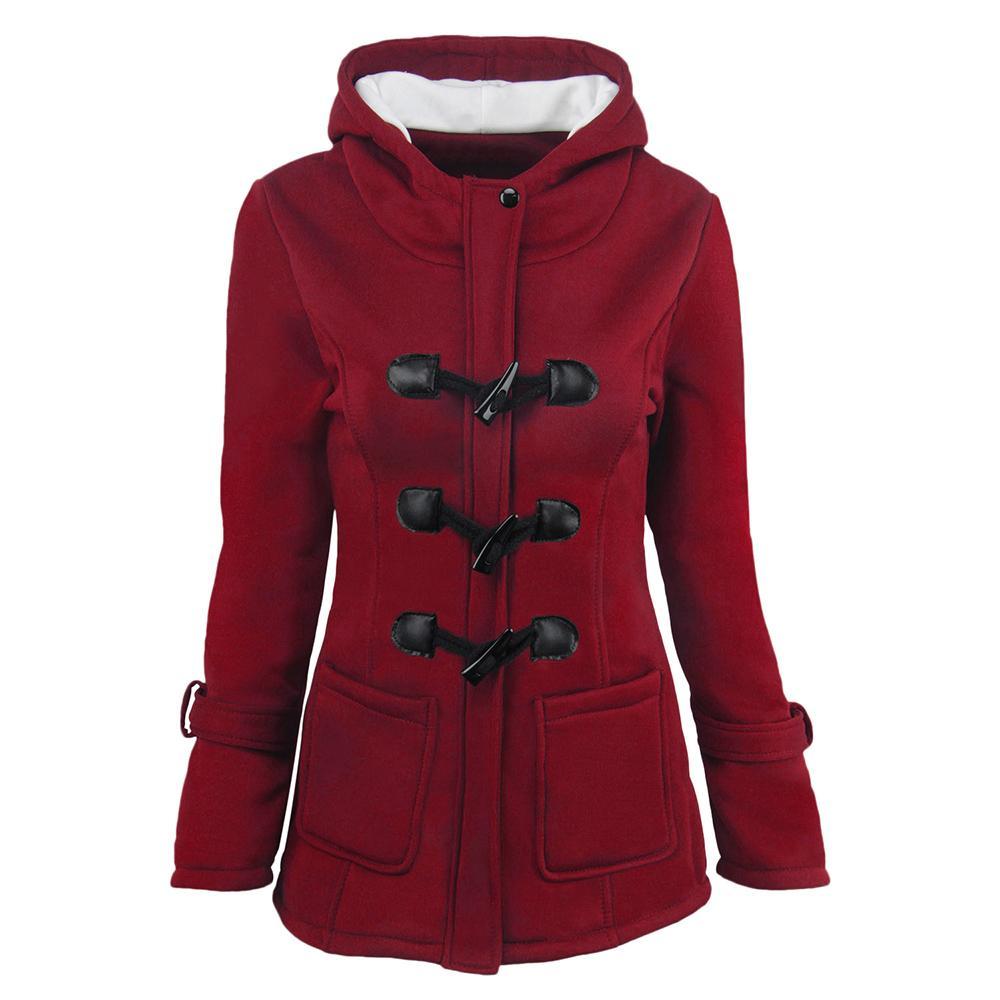 Las mujeres de algodón con capucha Escudo Mezcla Vaca Cuerno clásico botón de la chaqueta de cuero chaqueta de la capa Abrigo cremallera con capucha