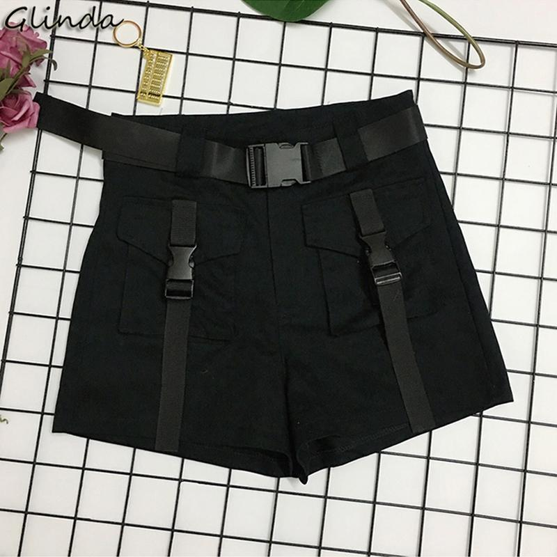 women Biker Punk Mini Shorts summer Casual High Waist Sash Tie Up female Short Black Cotton Sport Overalls Sexy Hotpants festiva
