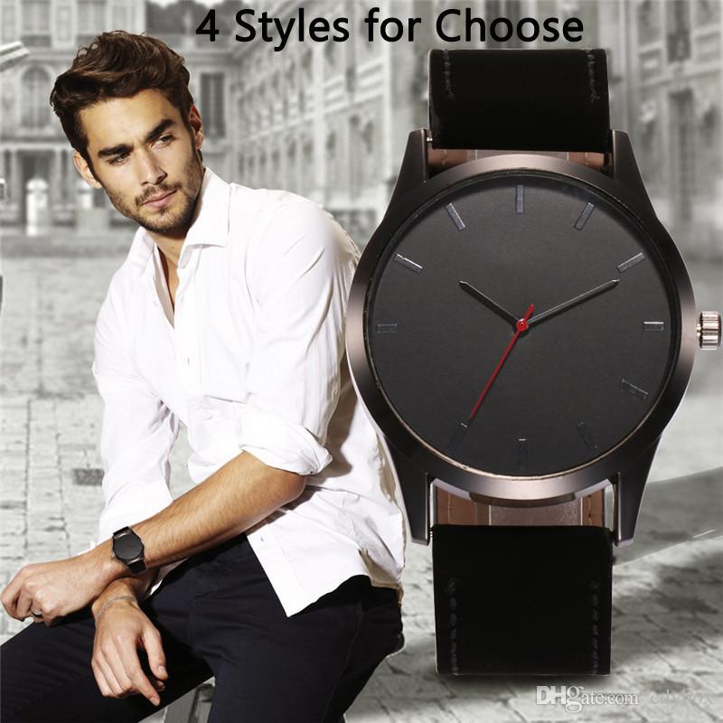 Big Dial High-end Men Wristwatch Business Quartz Watch PU Leather Band Boy Sport Wrist Watch Gifts Hot Sale
