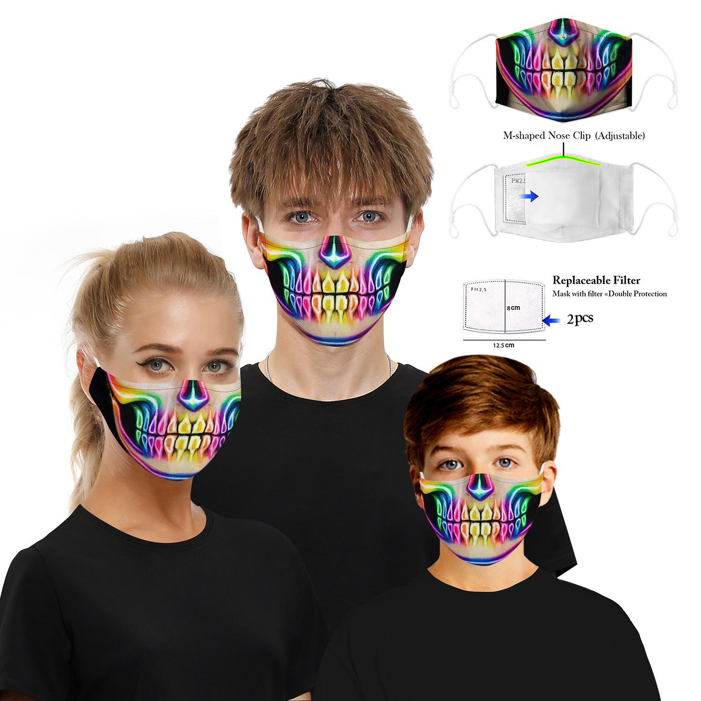 Party Skull Masque Masques Sports de plein air Halloween Cosplay Masques visage réutilisables poussière chaud coupe-vent Coton fête Masque 2020 Nouveau