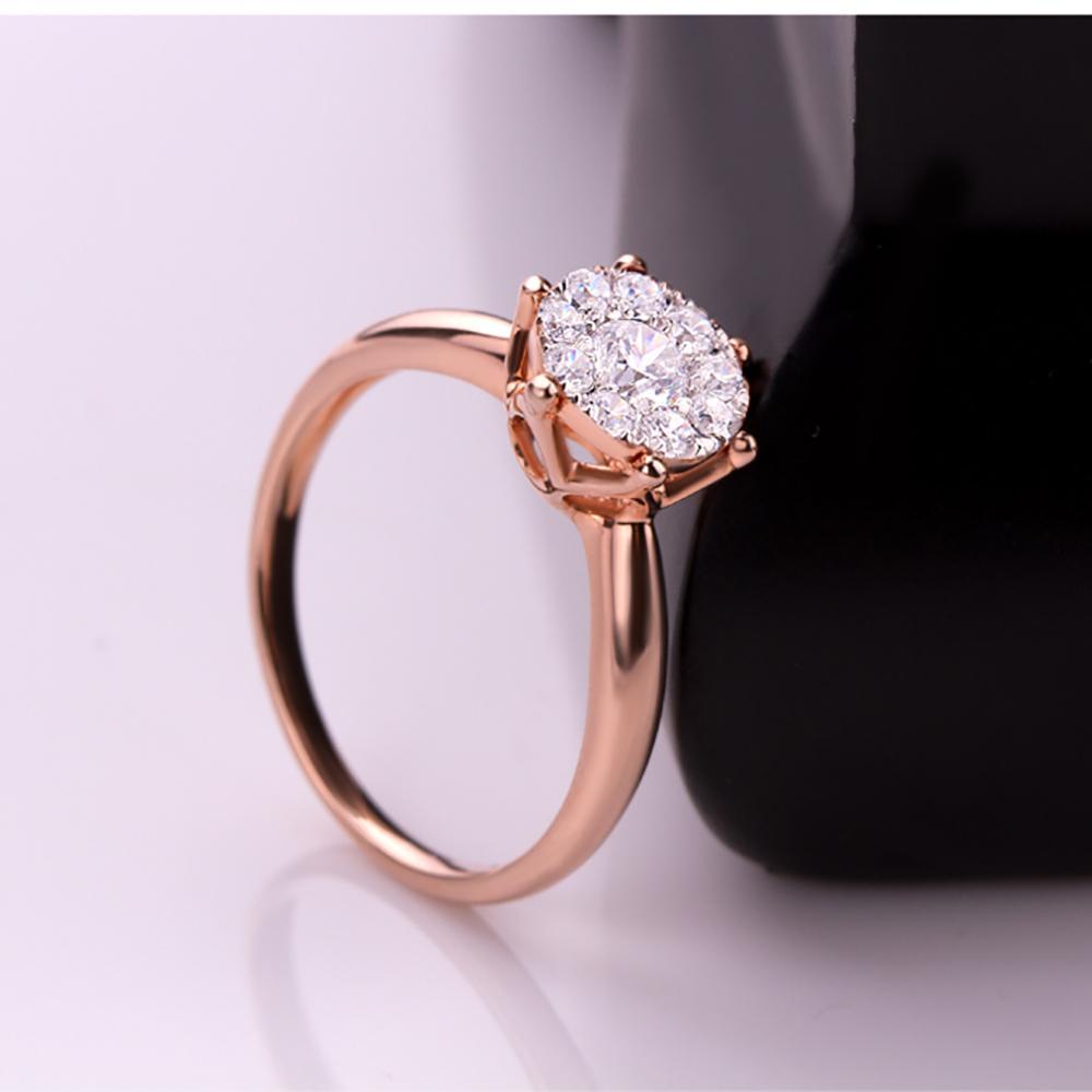 0,6 ct effetto Si / h anelli di fidanzamento con diamanti 18kt oro rosa anello di promessa gioielleria raffinata matrimonio / fidanzamento anello tondo Y19052401