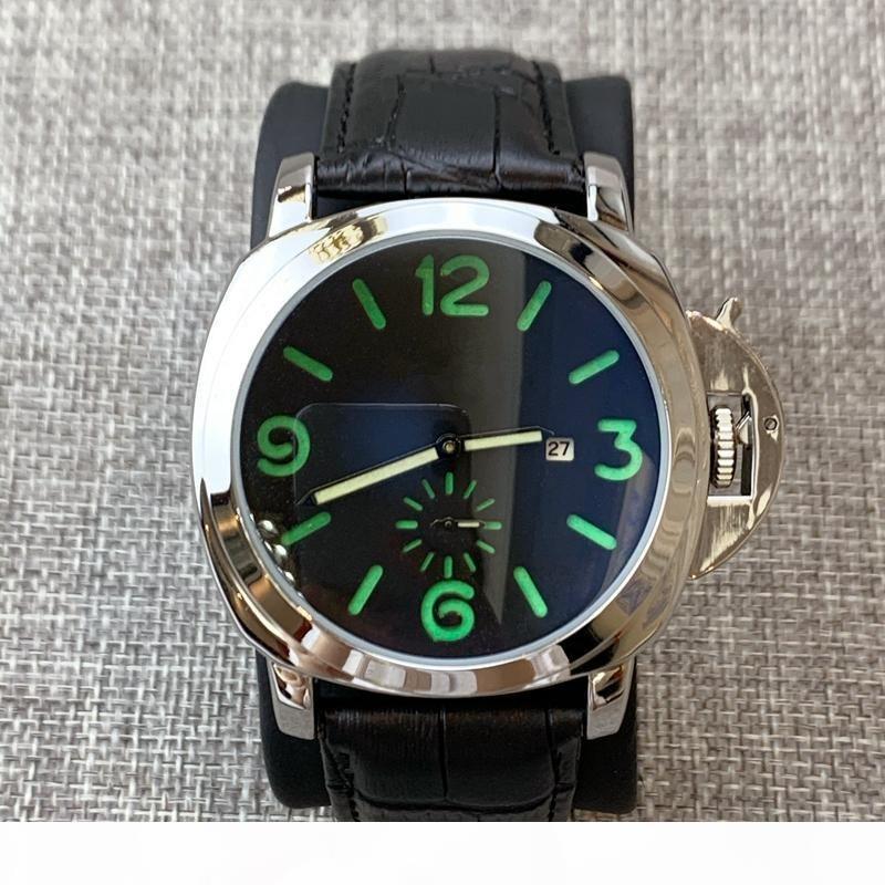 2010 de haute qualité Nouvelle arrivée homme montre de montres de luxe en cuir véritable grand cadran quartz visage bleu horloge casual sport Montres-bracelets dropshipping