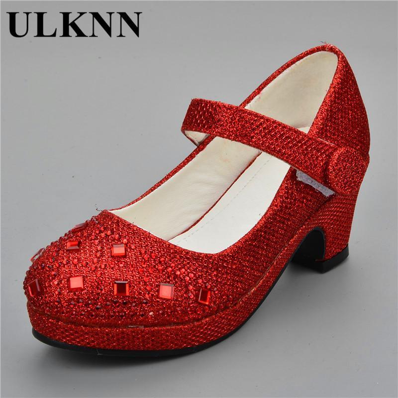 Ulknn 2019 Sandals For Girls Children Rhineston High Heel Wedding Party Shoes Baby Princess Shoe Pink Red Silver Gold 25-30 Girl Y19062001