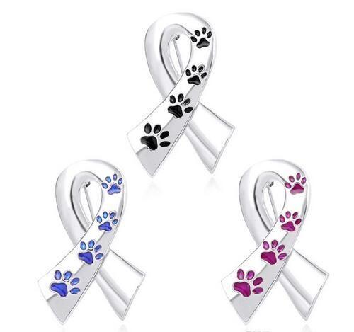 Soie ruban broches femmes émail pet patte imprime pins et broches chat chien memorial pin noir bleu broche en métal soie satin badge
