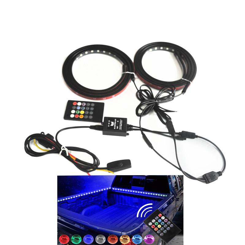 2Pcs 60 Inch Smart RGB LED Truck Bed Lights with Sound-Activated Function, Wireless Remote, On Off Switch for Pickup SUV RV
