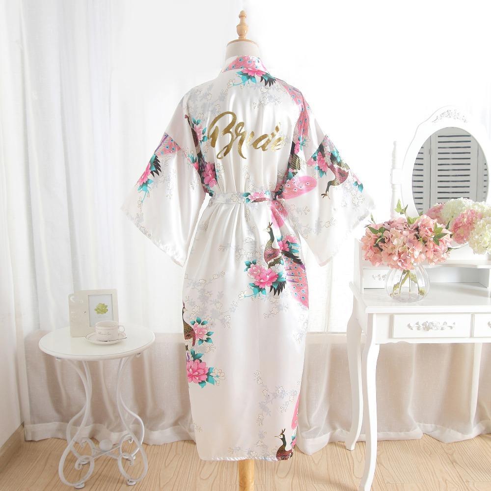 Bridesmaid Bride Wedding Satin Silk Floral Robe Maid of Honor Gown Dressing UK