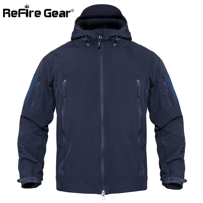 ReFire Gear Waterproof Army Tactical Jacket Men Camouflage Military Jacket Softshell Windbreaker Winter Hooded Coat Hunt Clothes V191205