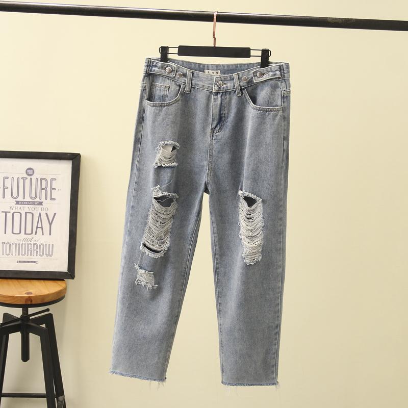 2020 Весна моды высокой талией джинсы Женщины шаровары хлопка Свободные отверстия Lady Повседневные брюки джинсовые для женского LS007