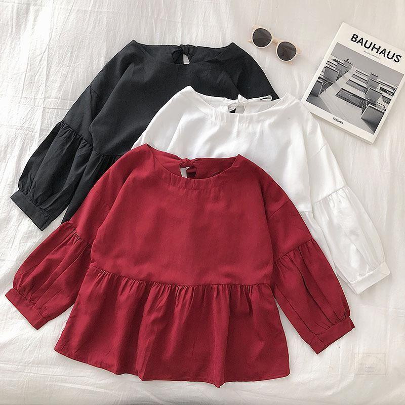 Сплошной цвет фонарь рукав рубашки женские осенние 2019 новый стиль Корейский стиль GIRL Сладкий Назад Лук бинты ткань Crew Neck Tops
