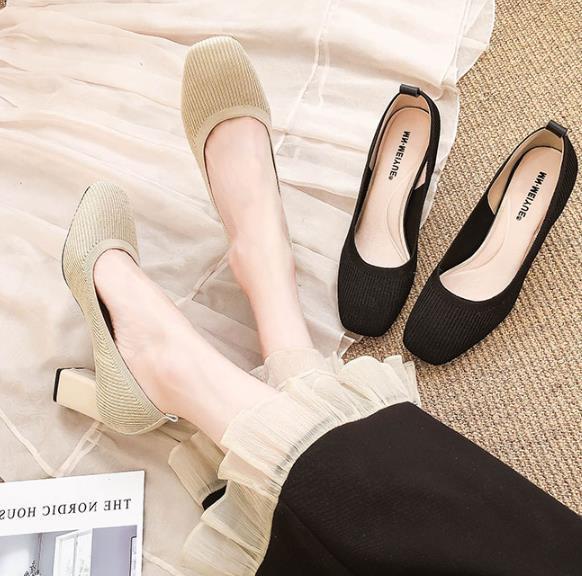 Siyah küçük taze yüksek topuklu kadın ayakkabıları 2020 bahar yeni örme kare kafa kalın soled yüksek topuklu ayakkabılar