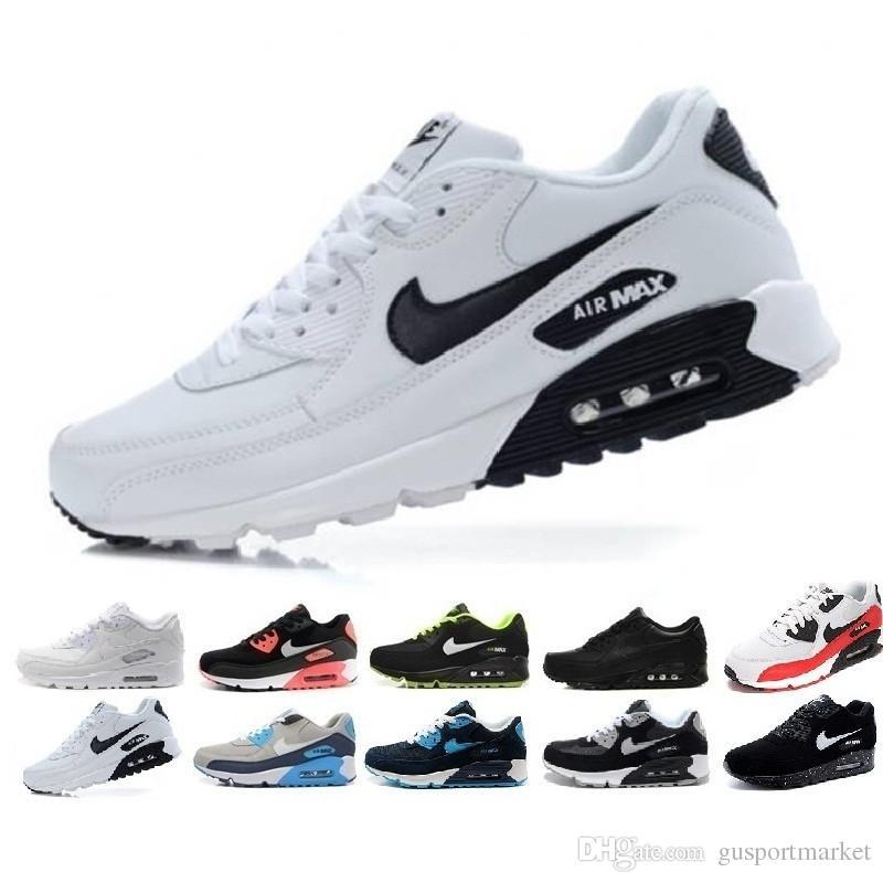 Nike Air Max 90 Airmax Zapatos De Los Hombres Clásicos Del Instructor 90  Mujeres Baratas 90 Calzado Deportivo Negro Rojo Blanco Del Amortiguador De  ...