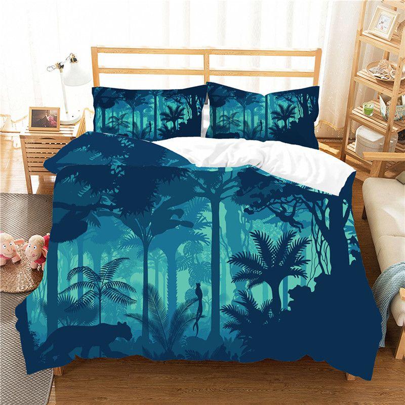 3D Tropikal Bitki Serisi Yatak Sıcak Yatak 2 / 3pcs Set set