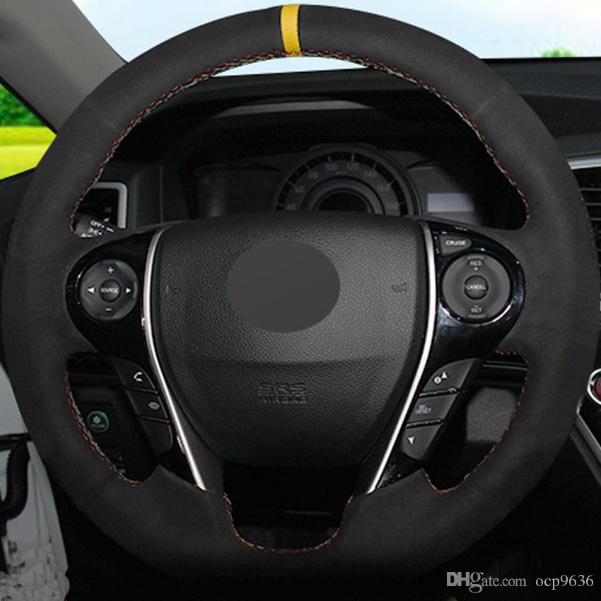 Black Suede DIY Hand-stitched Steering Wheel Cover for Honda Accord 9 Odyssey Crosstour 2013-2016