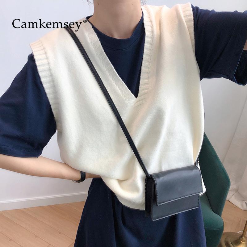 CamKemsey Хараюк трикотажных свитеров жилет женщины 2020 Корейская Твердая Весна осень V шея без рукавов вязаных свитеров пуловеров