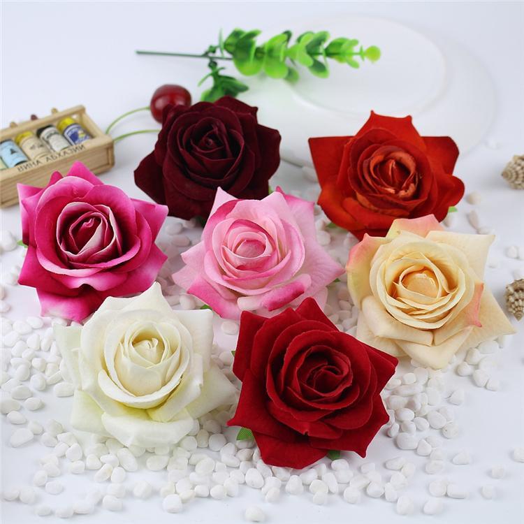 10шт Большой бархатной ткани розы Искусственные цветы Heads Flores Свадебные украшения автомобиля Рождество Halloween Party Gift Box Decor