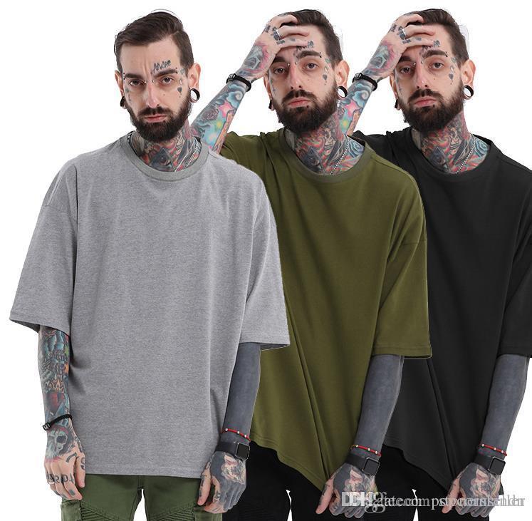 Estate del progettista del Mens delle magliette casuale solido di colore girocollo semplice allentato Split maglietta americano europeo del progettista del Mens Tshirt