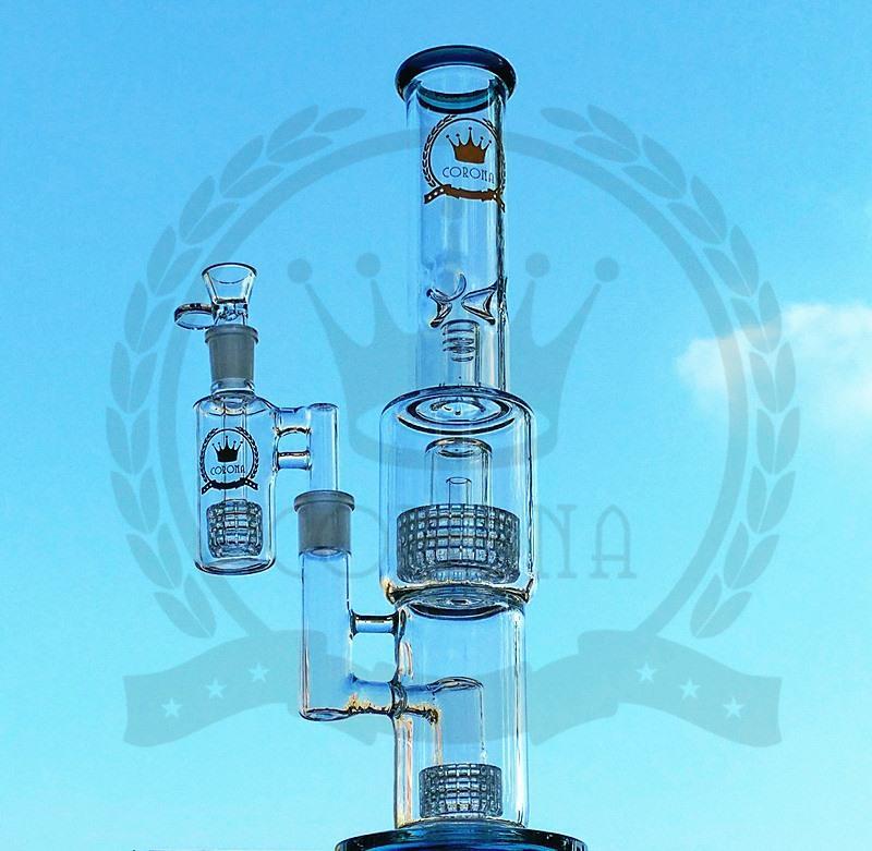 """Corona 16"""" Bong tres capas de hendidura honeybomb Perc alta del tubo de agua en claro color Dab equipos con accesorios Conjunto Conjunto"""
