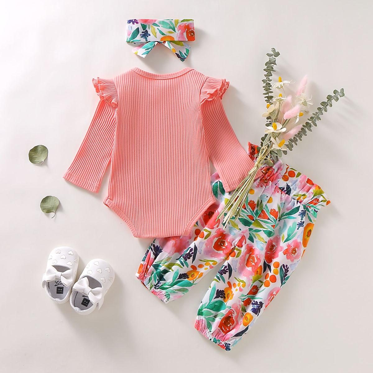 Pudcoco Autumn Newborn Baby Girl Clothes Solid Color Knitting Cotton Romper Tops Flower Print Long Pants Headband 3Pcs Outfits