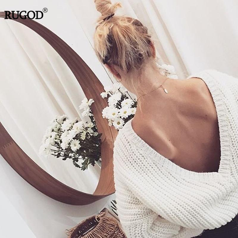 Rugod 2019 nouveau sexy dos nu Pull col V Femmes Pull Automne Hiver Casual Femme Pull en maille Pull Tricot Jumpers V191028