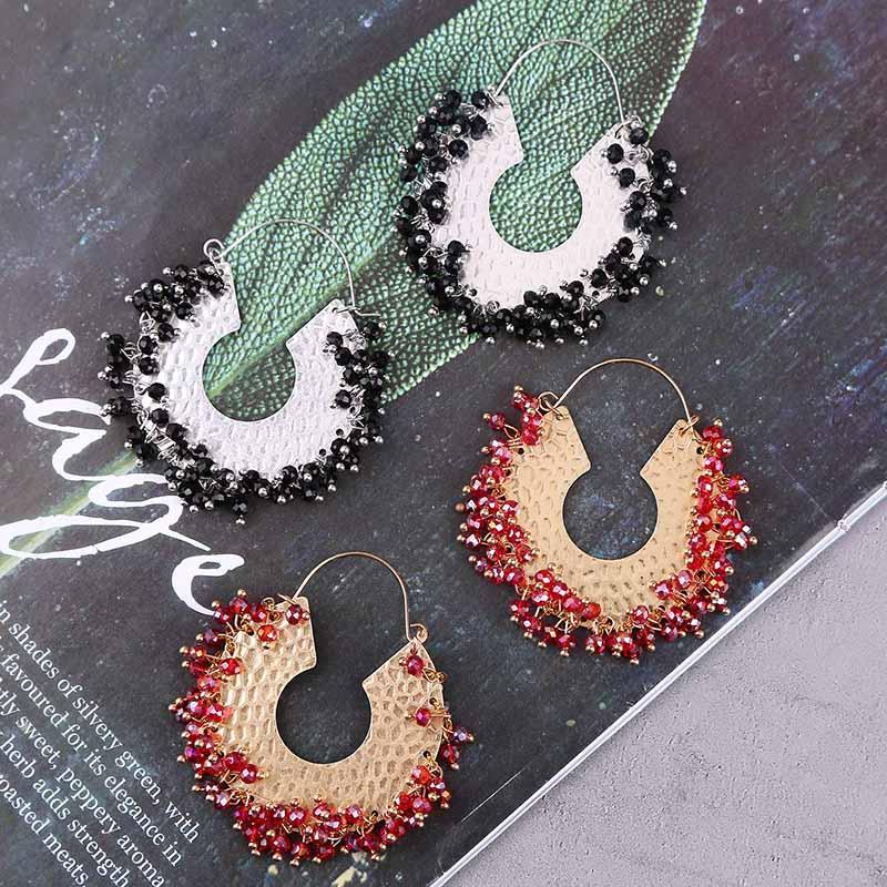 Round Vintage main Weave cristal rouge perles Boucles d'oreilles pour les femmes Boho Hyperbole C forme strass boucle d'oreille Bijoux Cadeaux