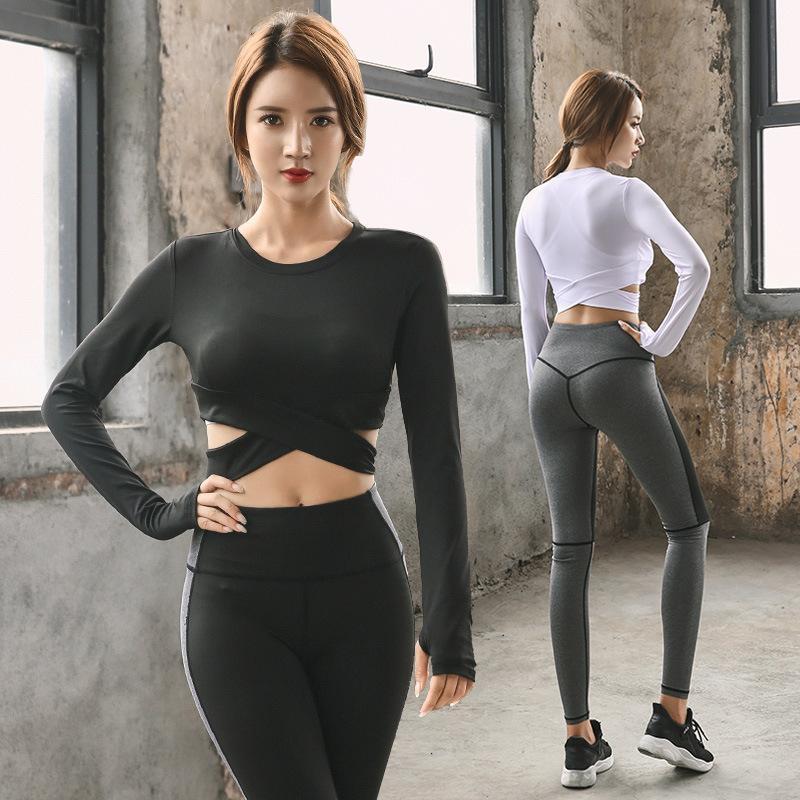 Çapraz Yoga Setleri Seksi Kadınlar Spor Halter Jersey Tozluklar Sıkı Spor Spor Suit Yoga Kadınlar için Set Eşofman