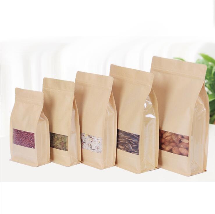 Ottagonale Borsa addensare Stand Up carta kraft Zip Sacchi per il caffè Noci Spuntino Tè Packaging bagagli Sacchetti con Frosted Window