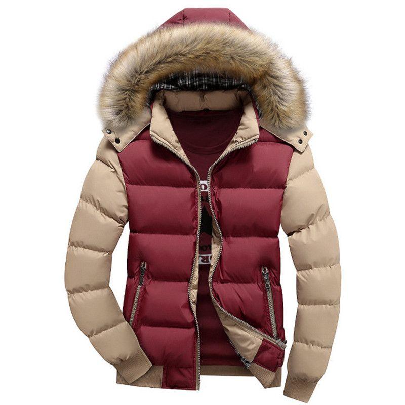 Gola de pele casaco com capuz Inverno Homens 2019 Jacket New Cotton Espessamento Fria lã quente Parkas Mens Casual Man Hot Marca Overcoats