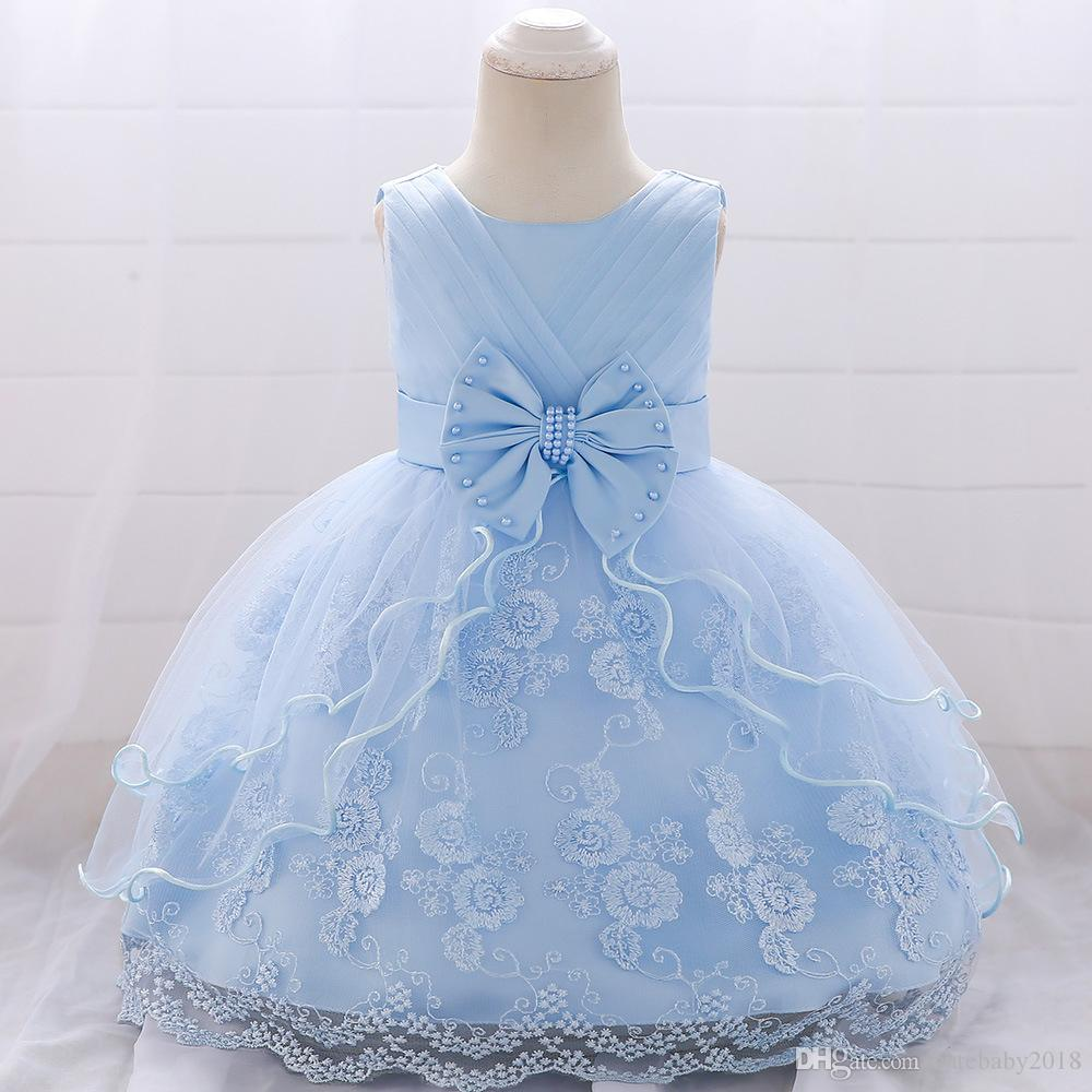 2019 Summer Cute Bow Infant Baby Girl Embroidery Lace Tutu Party Wedding Dress Children's Day Kids Princess Dress Baptism Dress Baby Clothes