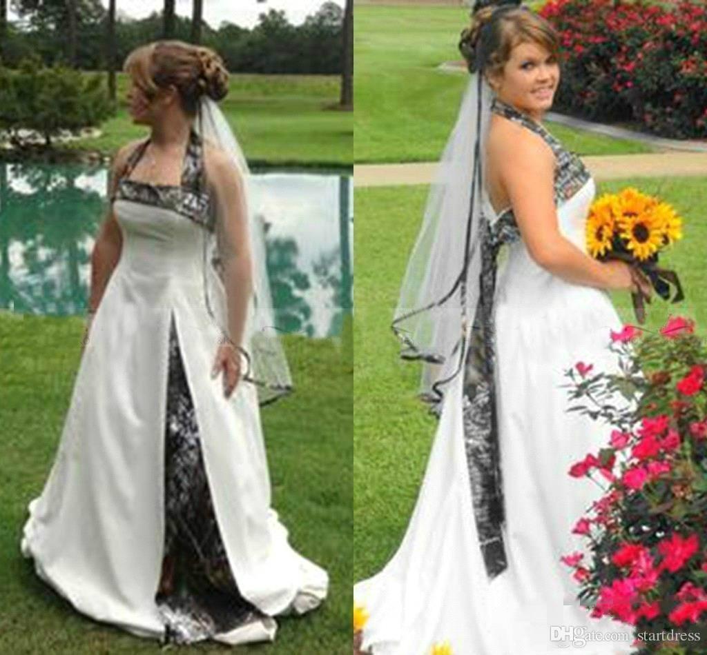 Fashion Country Camo Wedding Dresses Plus Size Halter Sleeveless Realtree Hippie Boho Wedding Dress Vintage Camouflage Bridal Gown Cheap