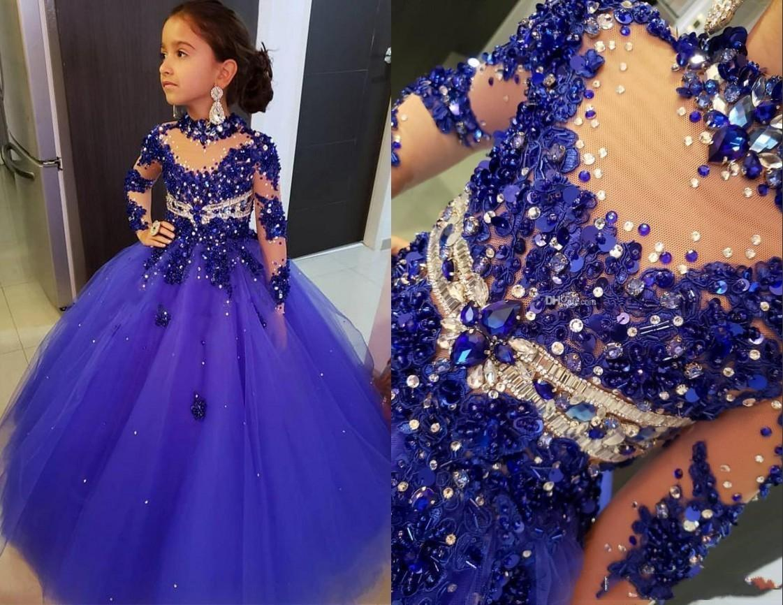 Charming Cute Beads Crystals Royal Blue Girls Pageant Dresses Princess High Neck Illusion Long Sleeve Little Kids Party Celebrity Wear Gowns
