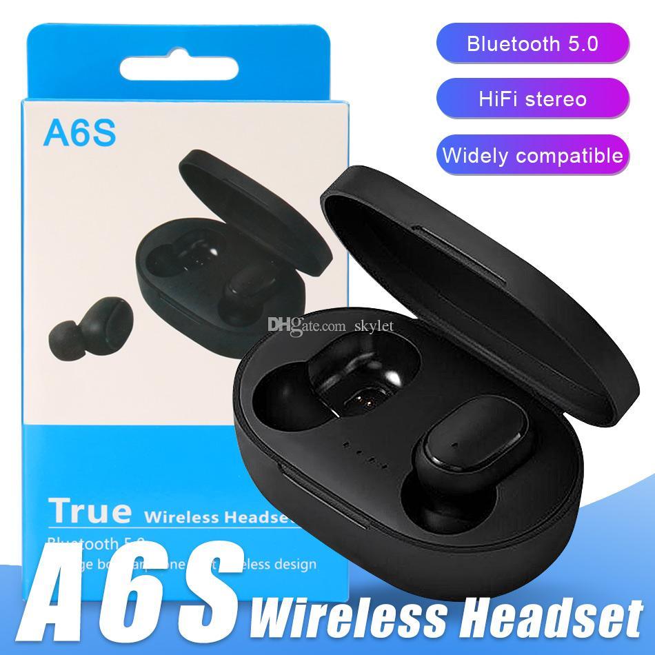 Box Evrensel Cep telefonları için Bluetooth Kulaklık A6S Kulaklık In kulaklıklar Kablosuz Kulaklık Bas Stereo Kulaklık Kulaklık