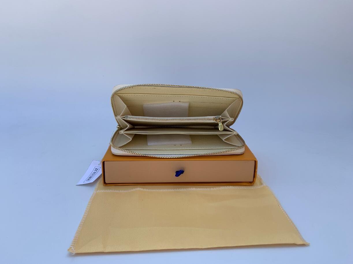 6 couleurs mode hommes design à glissière unique femmes portefeuille en cuir dames dame longue bourse avec sac à poussière carte boîte orange, le numéro de série