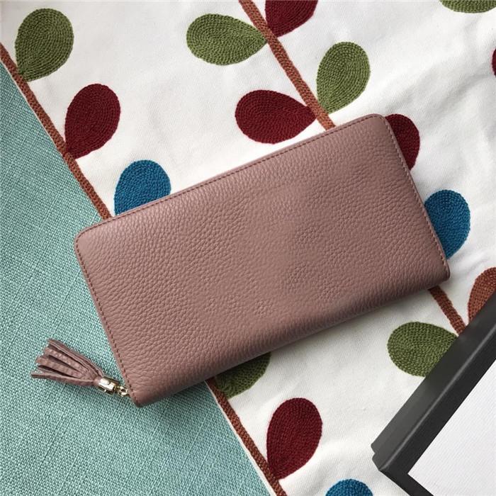 Design de Moda Mulheres Tassel longo Carteiras Couro Zipper cartão de crédito de longo Bolsa Titular Preto Nude rosa Clutch Carteiras