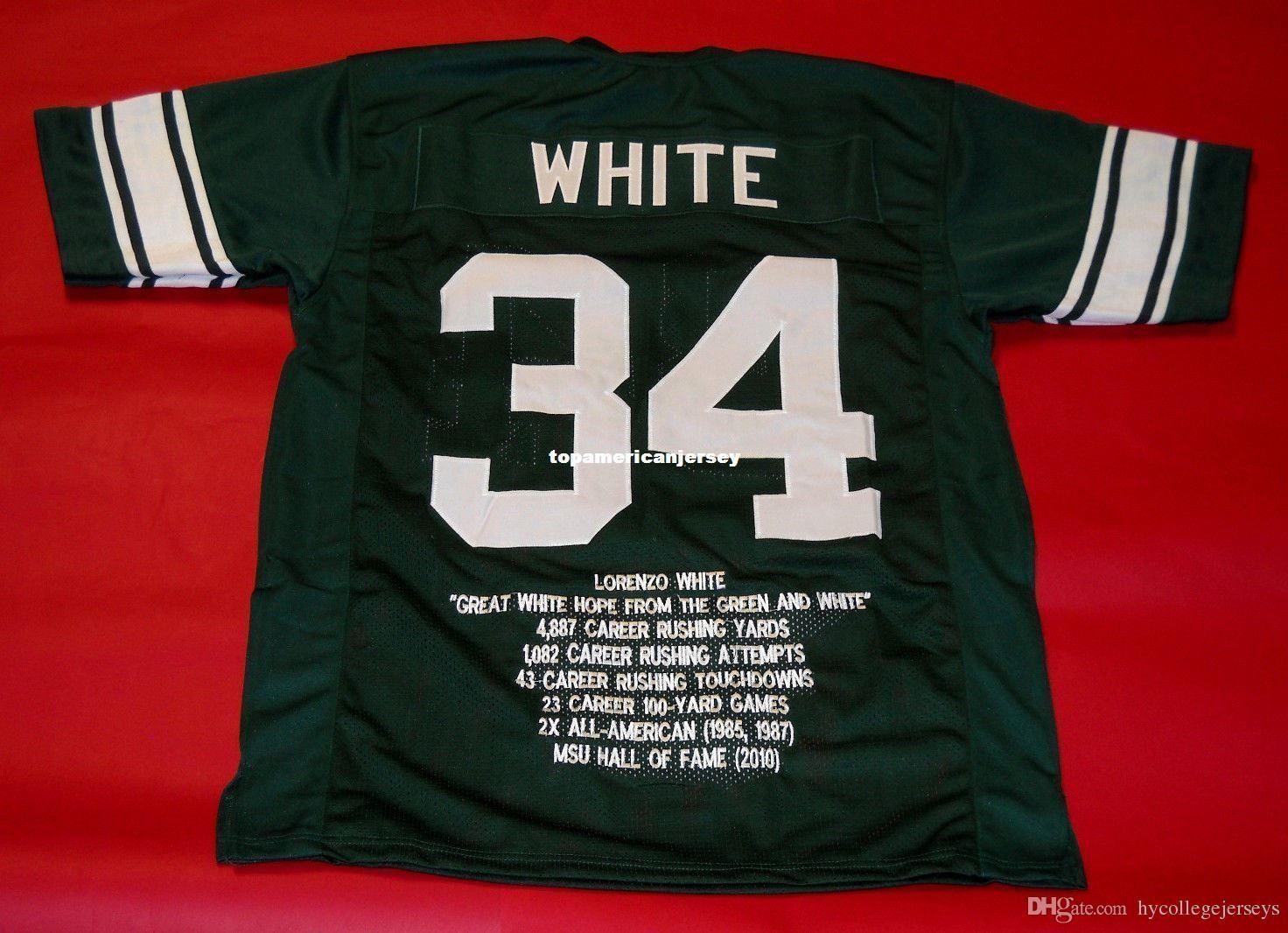 Дешевые ретро #34 Лоренцо белый пользовательские Мичиган Джерси МГУ зеленый мужская шить топ S-5XL, 6XL футбол трикотажные изделия работает