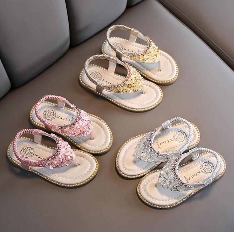 여자 샌들 여름 어린이 신발 구슬 플라스틱 샌들 비치웨어 패션 아기 유아 소녀 캐주얼 공주 아동 샌들
