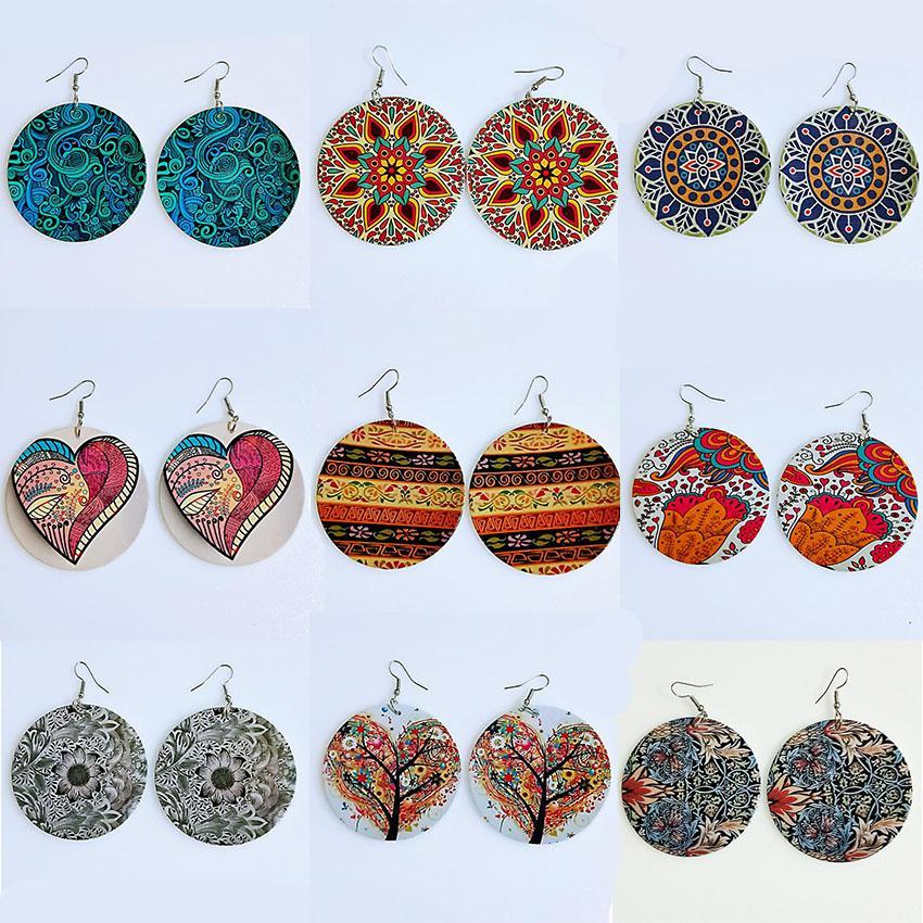 Renkli Baskı Çiçek Ahşap Küpe Yuvarlak Ahşap Eardrop Dangle Kalpler Ağaçlar Desen Charm Hoop Küpeler Tasarımcı Takı Hediye İçin Kadınlar