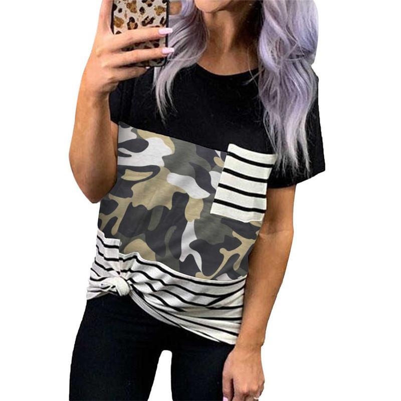 Casual O pescoço capuz Leopard camuflagem impressão da camisa de costura Magro Top Mulheres 2020 da camisa New Verão Feminino T Tops Streetwear T